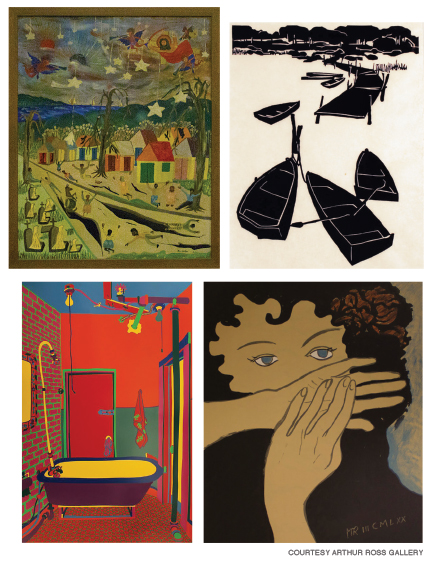Group of four painting and prints from the Arthur Ross Gallery collection