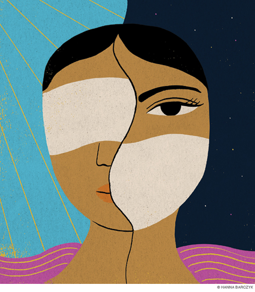 Illustration of woman wearing a sleep mask on the left side of her face in the daylight, and a face mask on the right side of her face at night.