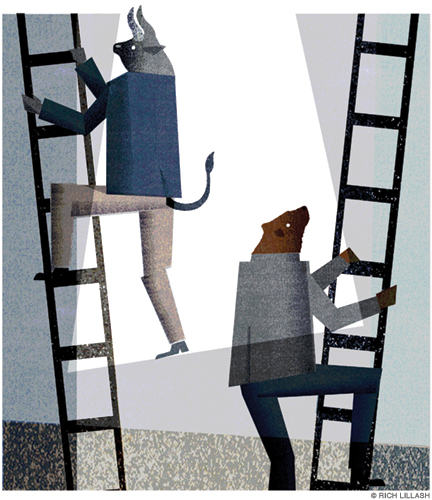 Illustration of Bull and Bear as human figures climbing ladders