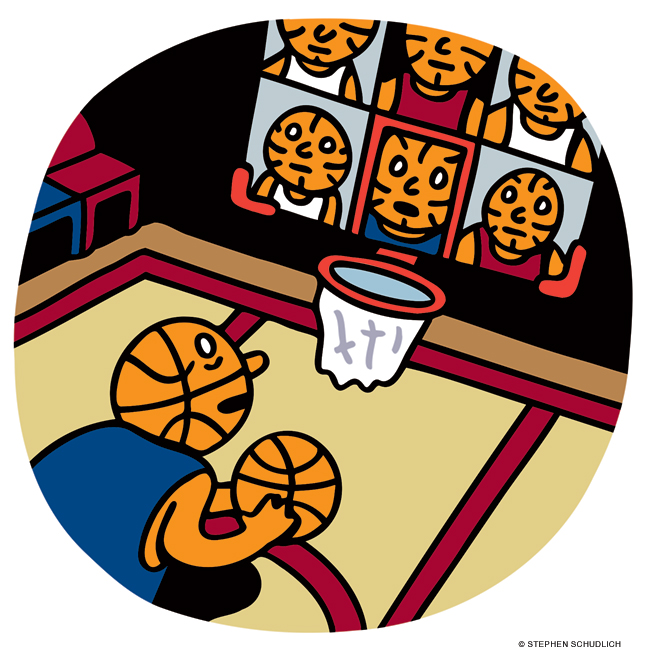 Illustration of men and women basketball players shooting hoops remotely