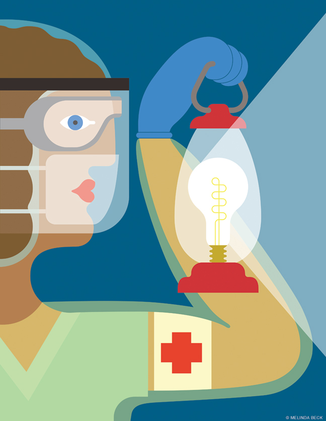 Illustration of modern day nurse with guiding light like Florence Nightingale