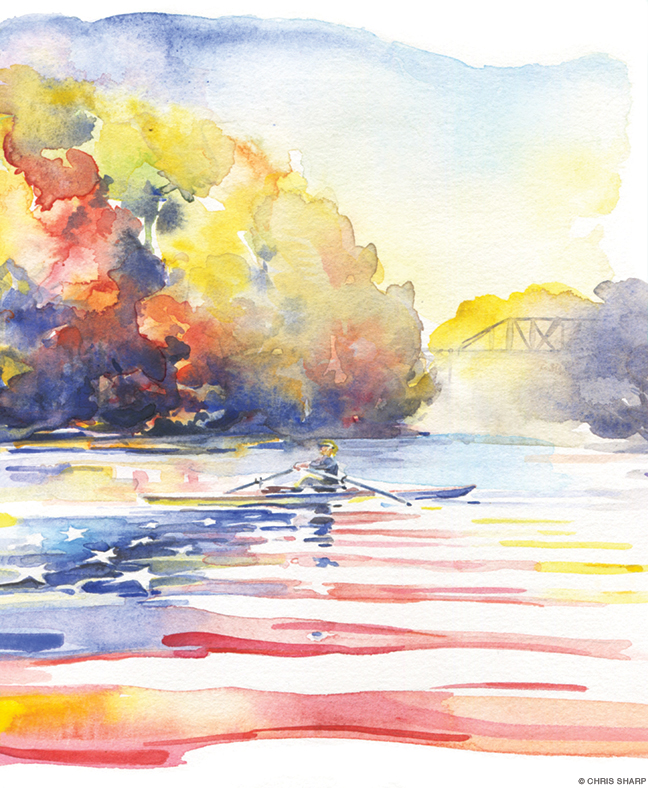 Watercolor painting of a rower on the Hudson River