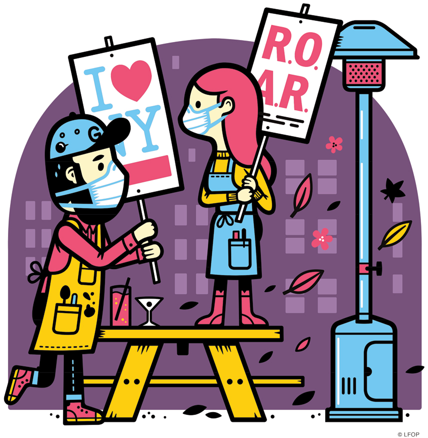 Illustration of restaurant leaders outside with placards that say ROAR and I (heart) NY