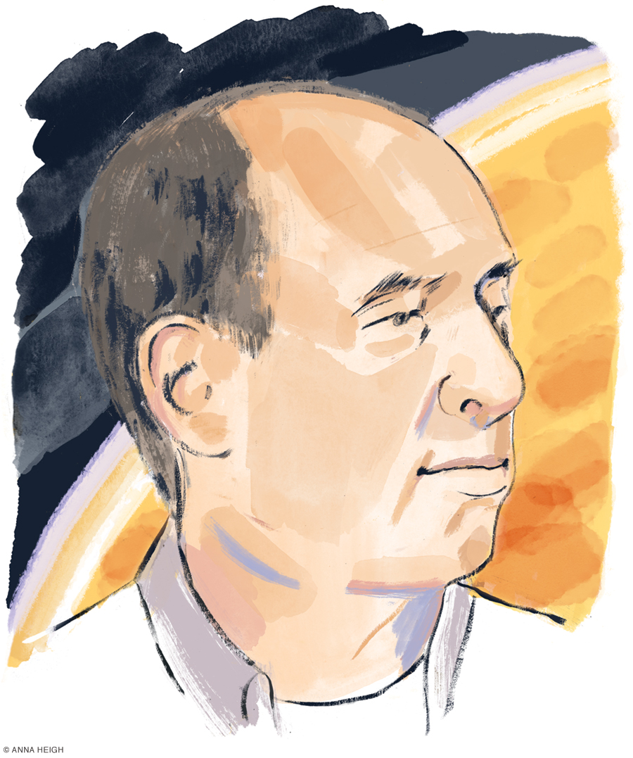 illustrated portrait of Larry Kahn