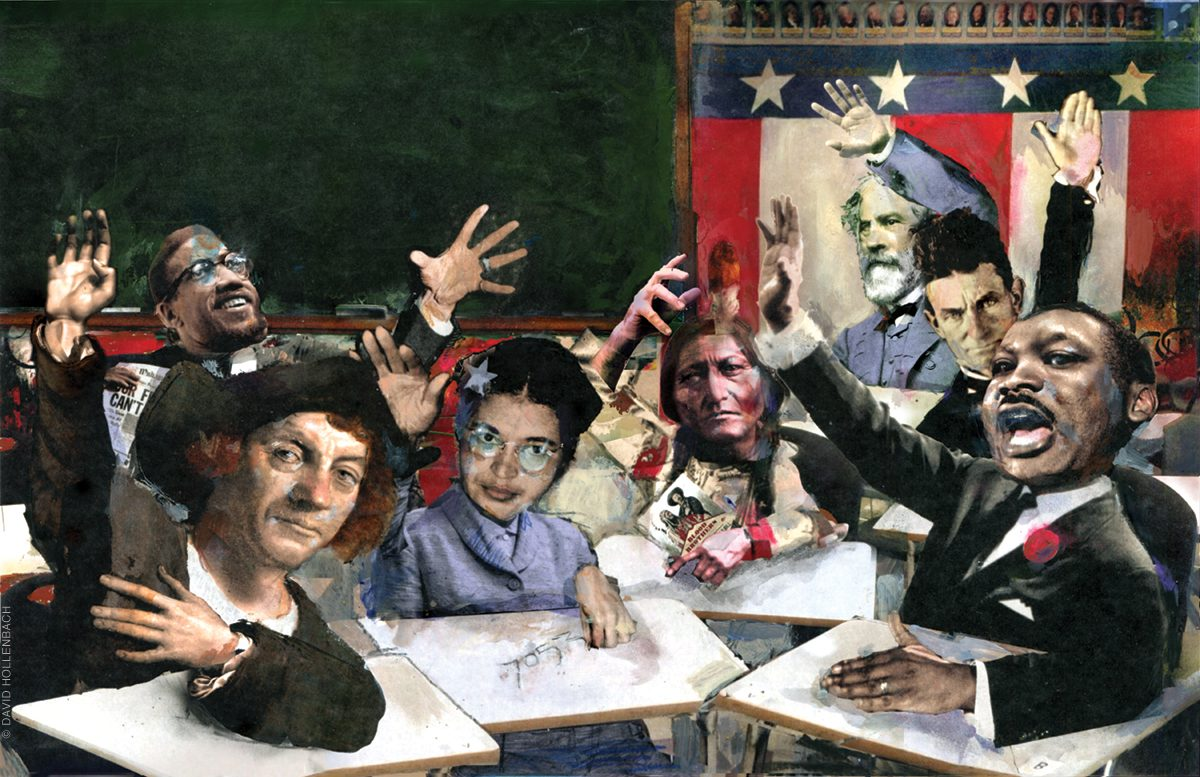 Illustration of historical figures in a classroom setting