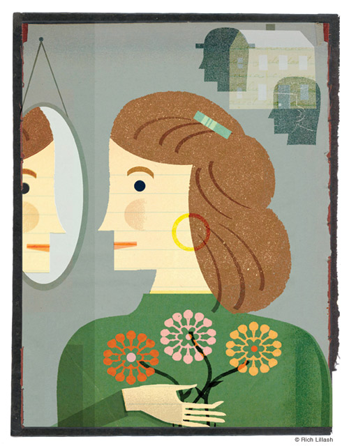 Illustrated portrait of a woman looking into a mirror holding a bouquet of flowers, with reflections of husband and father in background. Collage on endsheet of old book cover.