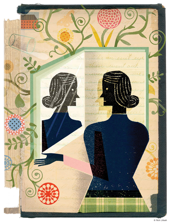 Illustration of a woman looking into a book as a mirror. Collage on endsheet of old book cover.