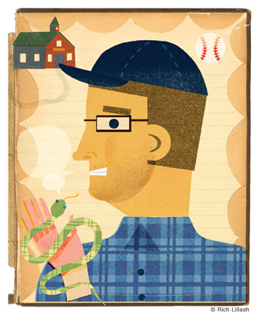Illustrated portrait of a man holding a snake and recalling his school days. Collage on endsheet of old book cover.