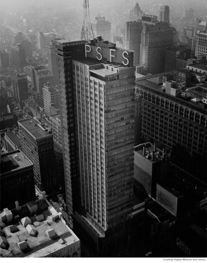 Bird's eye view of The PSFS headquarters in Philadelphia
