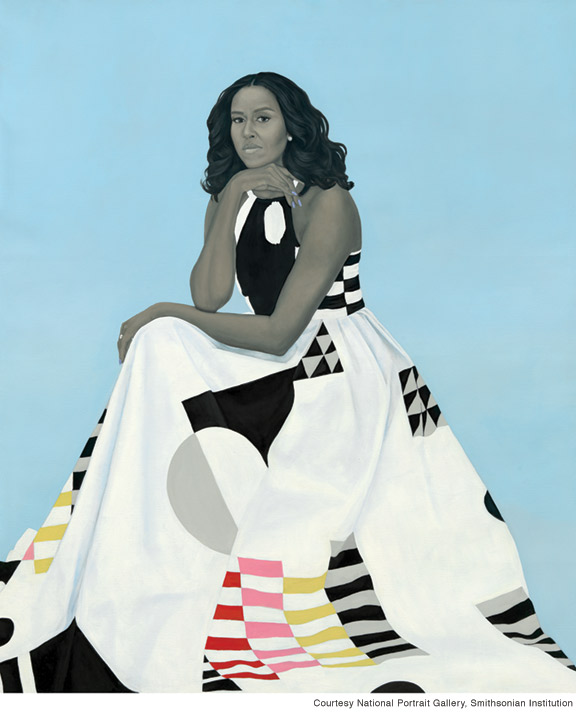 Painting of Michelle Obama by Amy Sherald, 2018.