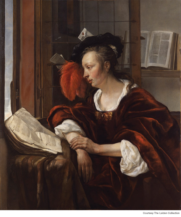 (Painting) Woman Reading a Book by a Window, Gabriel Metsu, ca. 1653–54.