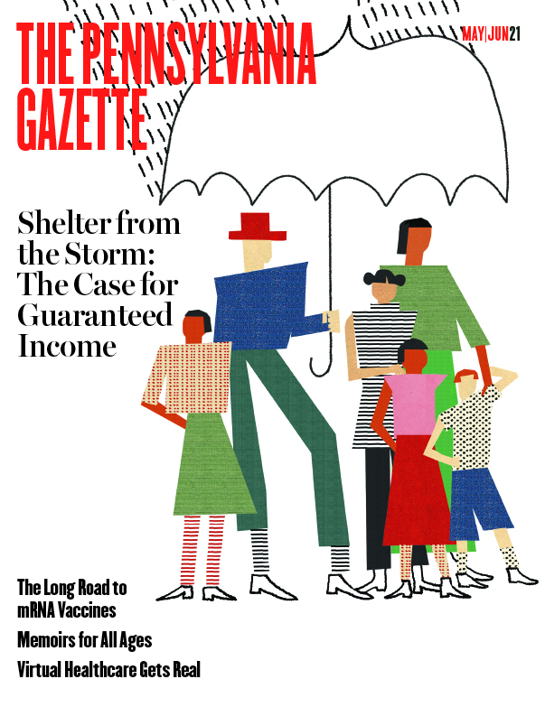Cover illustration depicting a family underneath an umbrella
