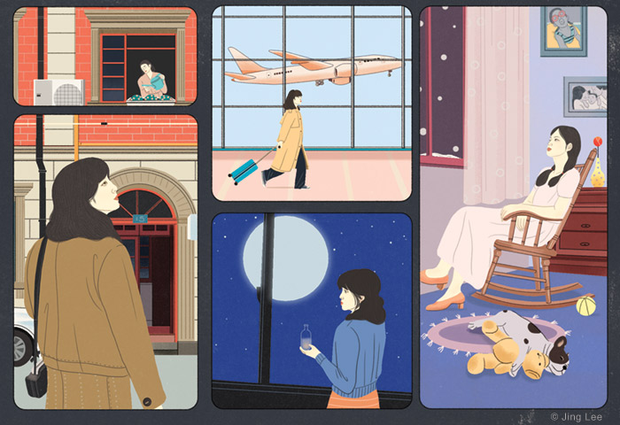 Illustration depicting the author traveling to homes in various places