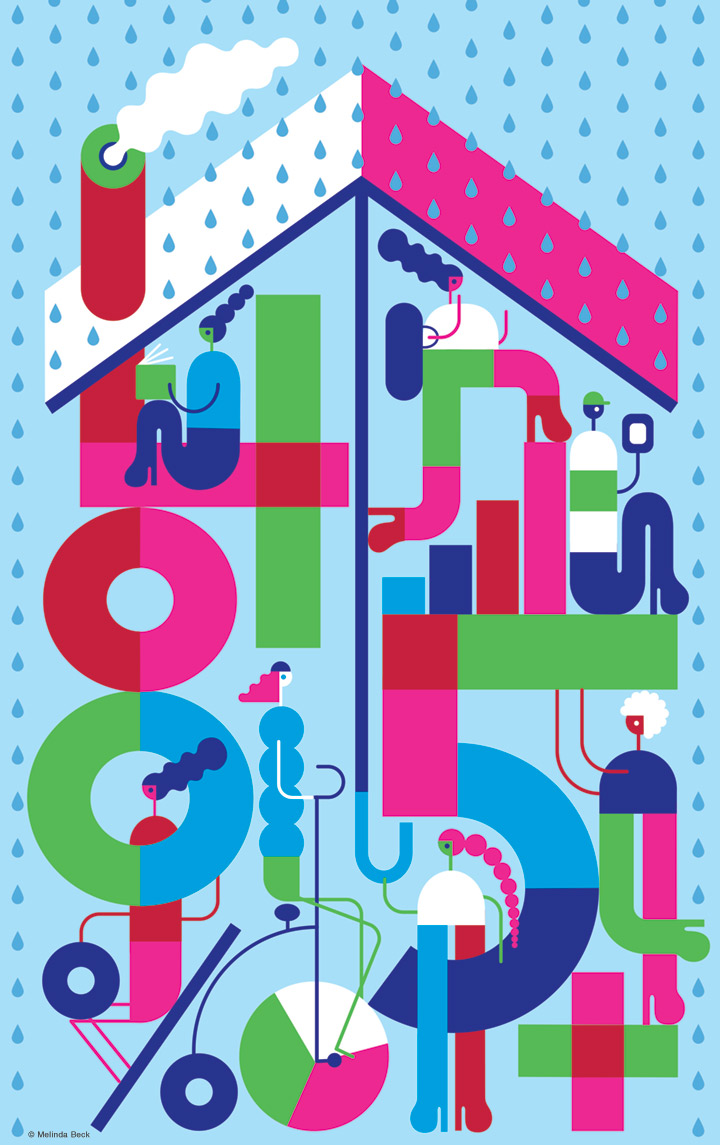 Illustration of students constructing a building made from financial symbols, that protects them from a rainy day