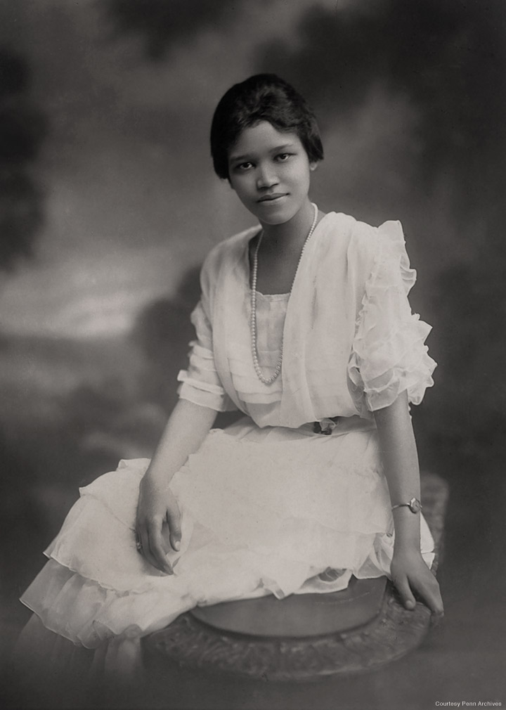 Photo of Sadie Tanner Mossell Alexander, in the white dress she  wore for her PhD graduation, 1921.