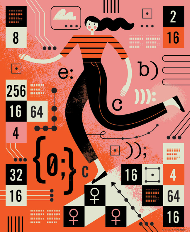 Illustration of a woman inside a math game