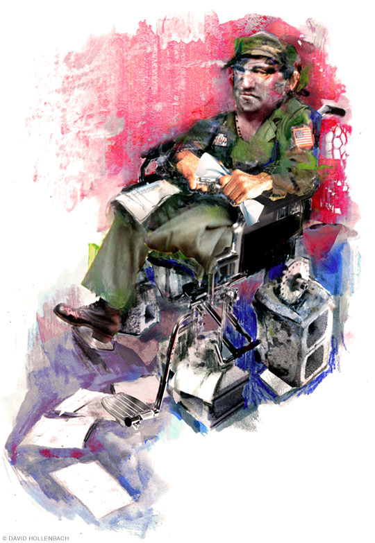 Illustration of a veteran in a wheelchair that's missing it's wheels, and up on cinder blocks.