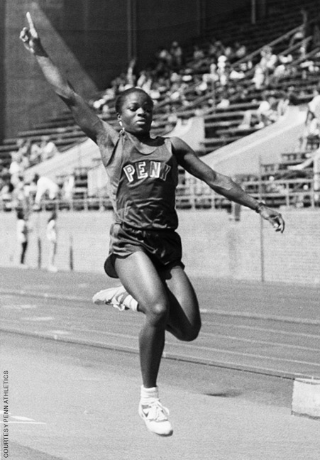 Photo of Ruthlyn Greenfield Webster competing at a track and field event