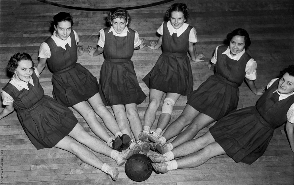 Archival photo of the women's basketball team from 1938