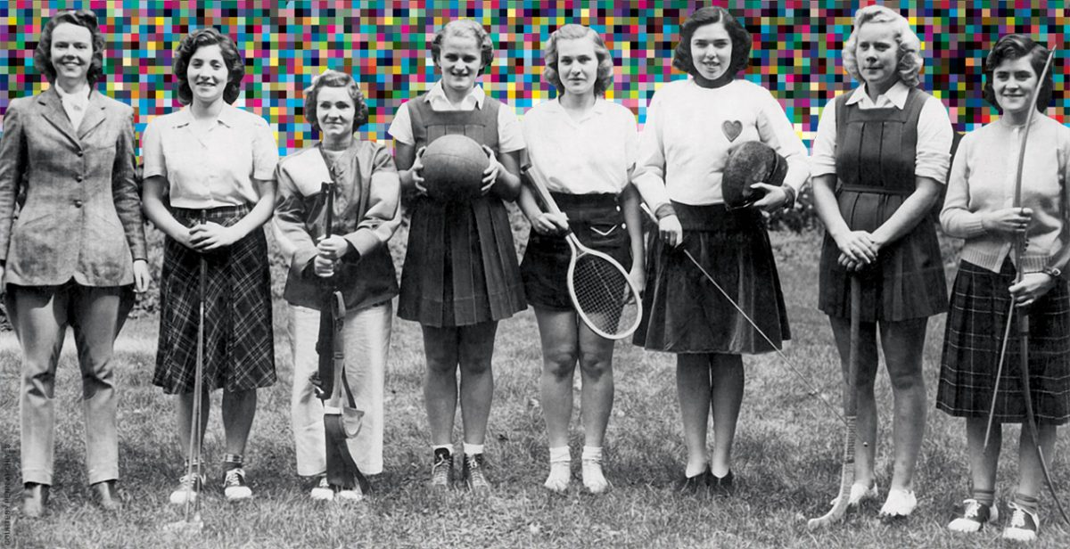 Archival photo of the captains of Penn's women's teams in 1940, showing off their uniforms and equipment.