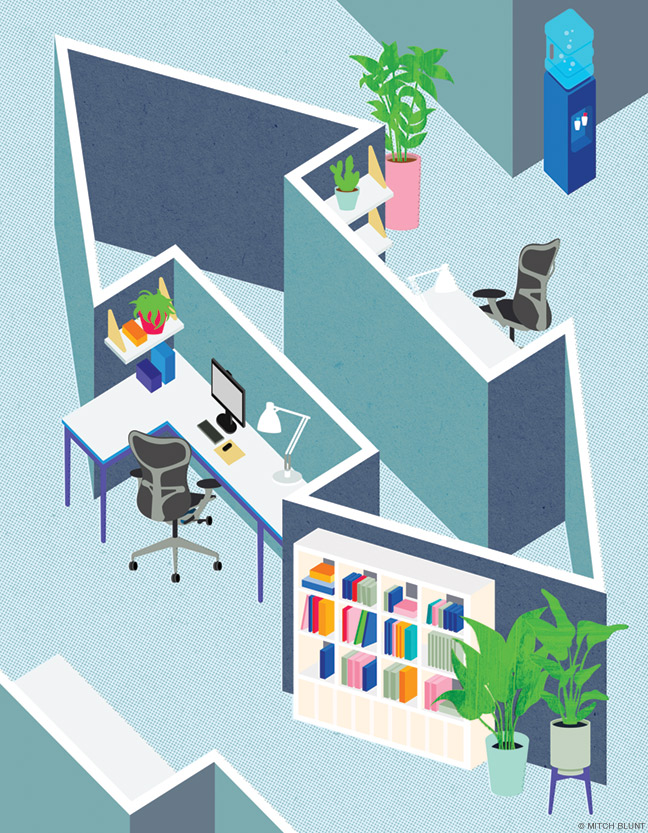 Illustration of office environment with cubicles in shape of an arrow pointing in two directions