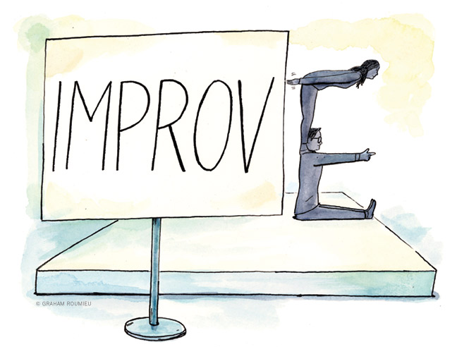 """Illustration of two people forming the letter E to change the word """"Improv"""" into """"Improve."""""""