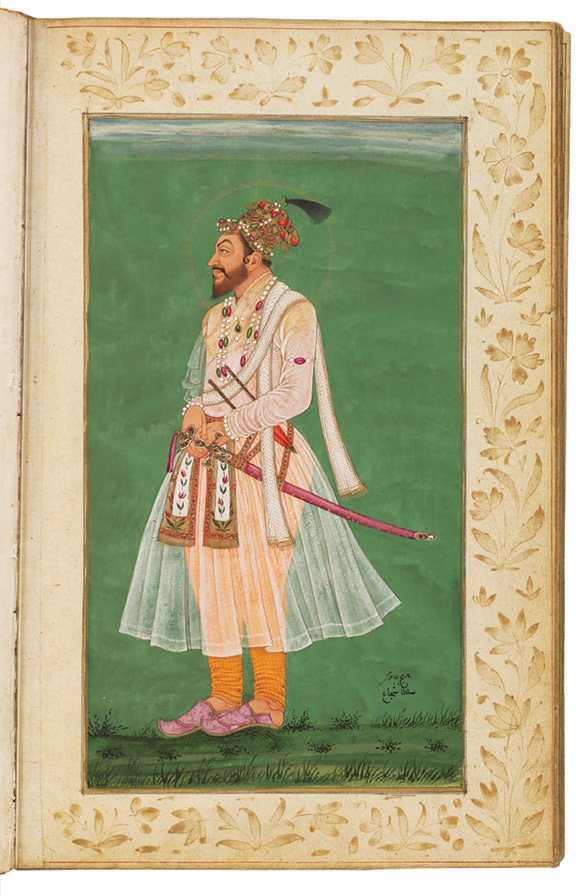 Page from the Deccani portrait album beginning with the Mughal emperors, proceeding to the Deccani kings, then closing with the Safavid shahs. Possibly produced during the reign of Abul Hasan Qutb Shah (r. 1672-1687).