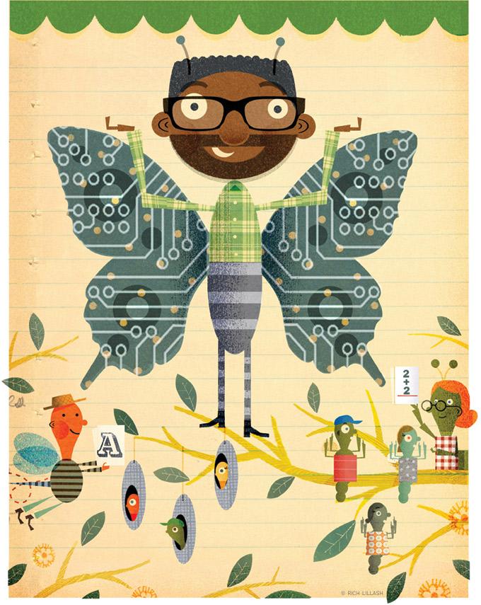 Illustrated portrait of Chris Bennett