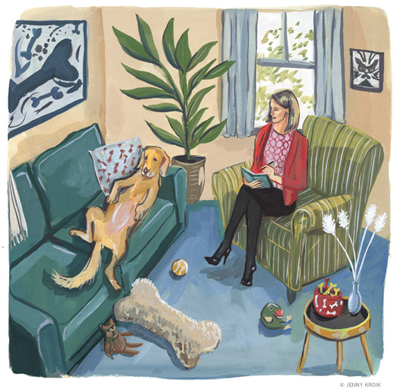 Illustration of a dog on a therapist's couch.