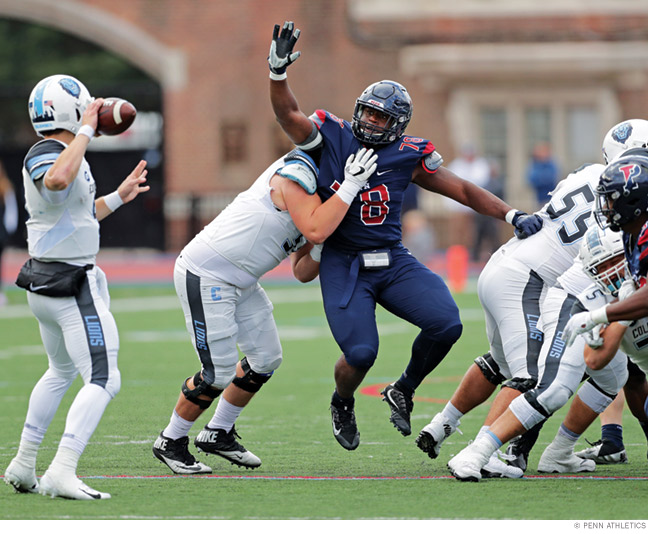 Photo of Prince Emili attacking the Columbia offense.