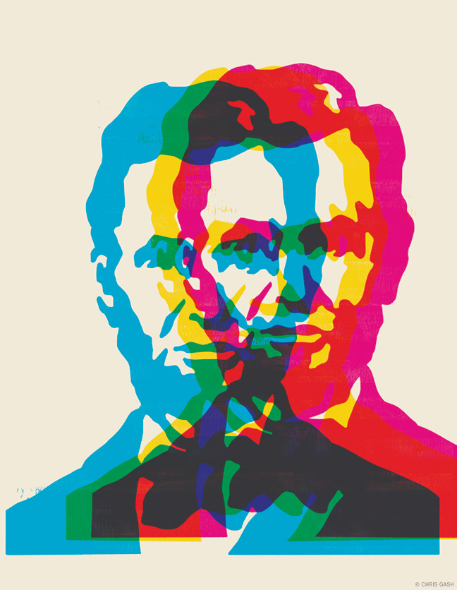 Illustrated portrait of Abraham Lincoln using offset images in cyan magenta and yellow