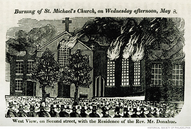 """Newspaper illustration of """"A Full and Complete Account of the Late Awful Riots in Philadelphia"""": Burning of St. Michael's Church by anti-Catholic nativists, on Wednesday afternoon, May 8, 1848."""