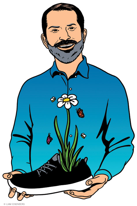 Illustration of Joey Zwillinger holding a shoe that contains a growing flower
